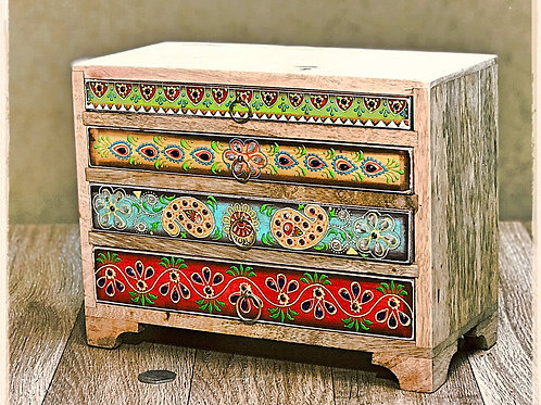 Hand Painted Mango Wood Large 4 Drawer Chest
