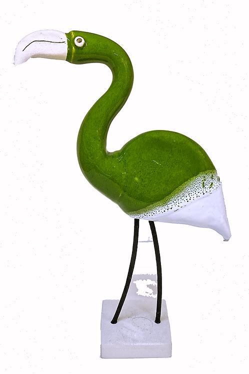Green Flamingo Statue