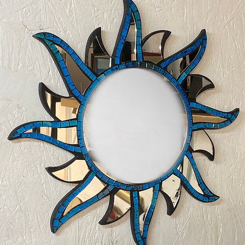 Blue Mosaic Sun Mirror