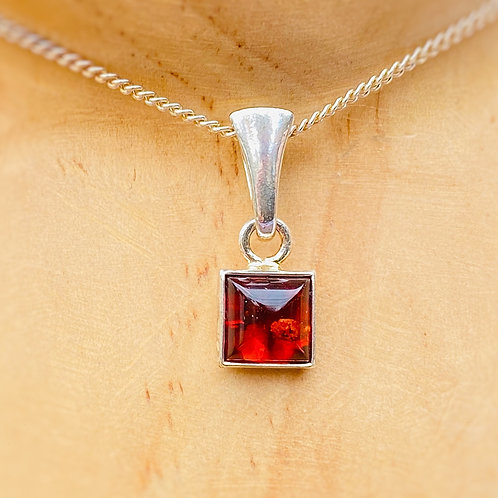 Red Amber Square Pendant
