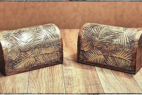 Carved Feather Domed Wooden Box