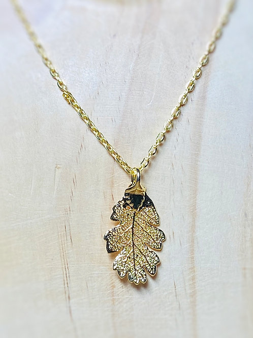 Gold lacy oak leaf Necklace