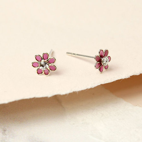 Sterling Silver Enamel  Pink Flower Stud Earrings