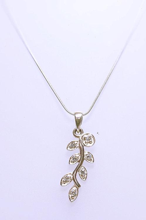 Cubic zirconia Leaf Necklace