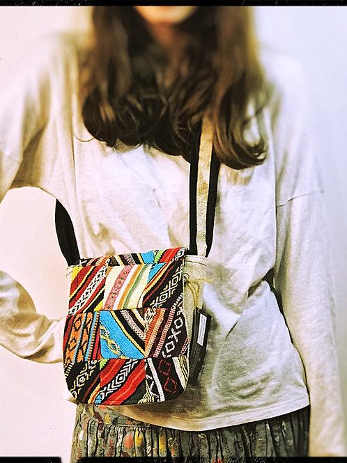 Small Multi coloured fair trade Flap Over Bag