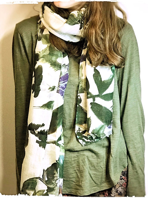 Ivory and Green Mix Floral Print Scarf