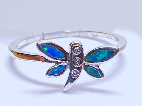 Blue Opal Dragonfly Ring