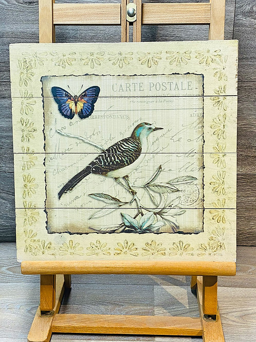 Vintage Style Wooden Bird and Butterfly Picture