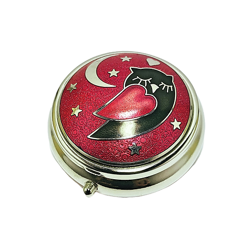 Red Enamel Owl PILL Box