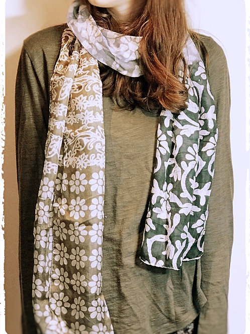 Screen Printed Green/Blue and White mix silk scarf.