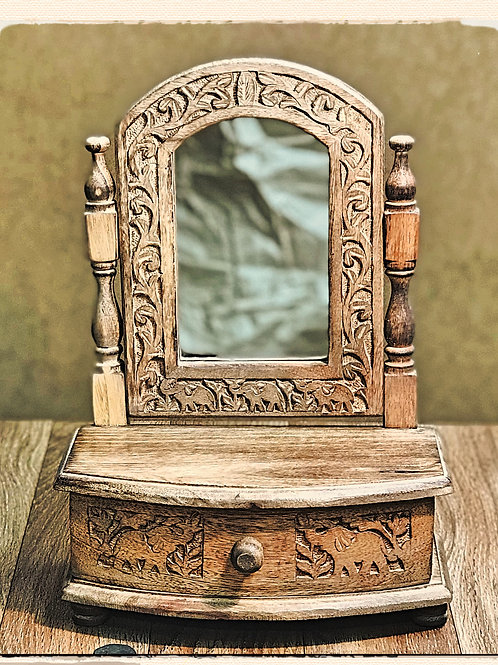Miniature dressing table for jewellery, trinkets, with mirror.