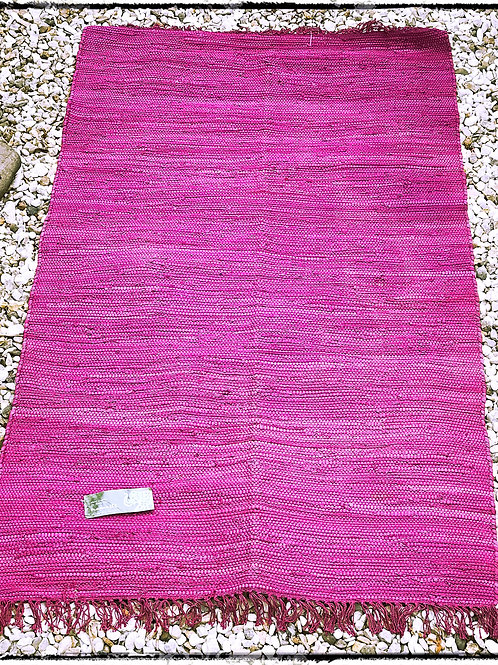 Hand made Raspberry Cotton Rag Rug