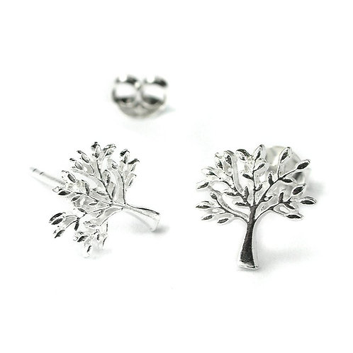 Sterling Silver Tree Stud Earrings
