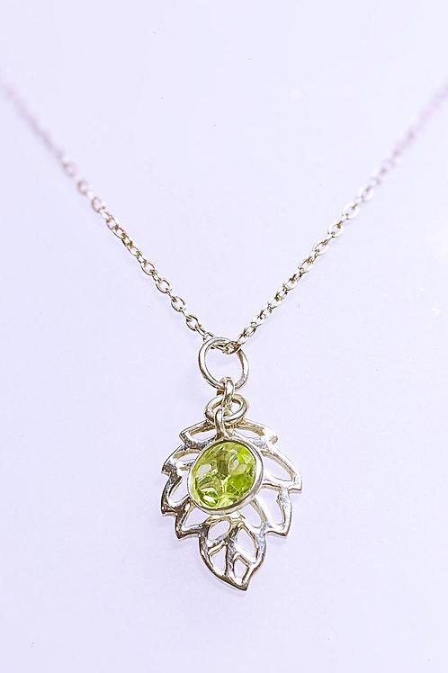 Peridot Leaf Necklace