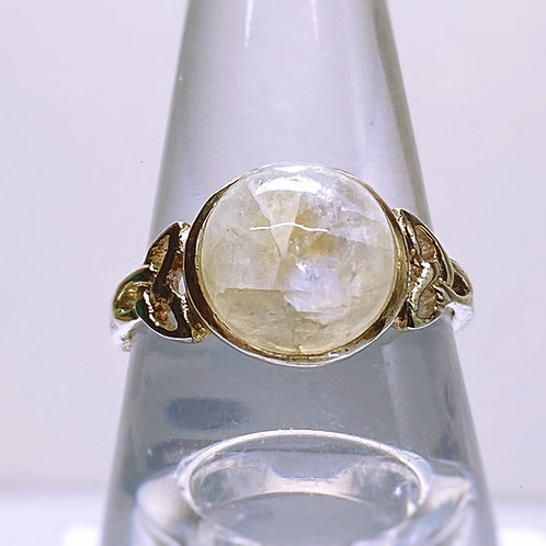 Rainbow Moonstone Celtic Ring