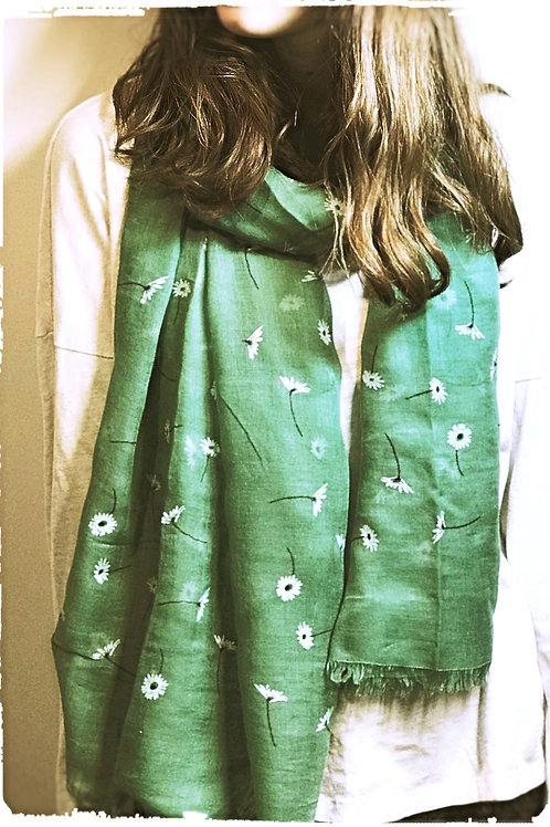 Green Scarf With Flock Daisy Print.
