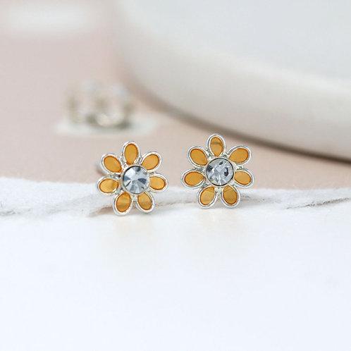 Sterling Silver Golden Flower Stud Earrings