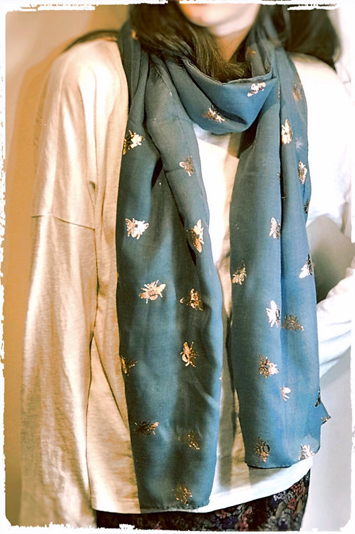 Grey/Blue Scarf with Rose Gold Bees.
