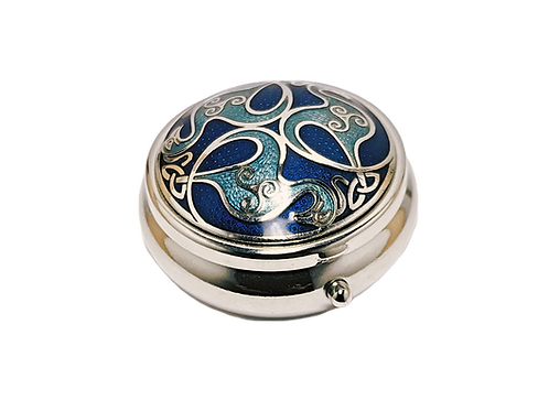 Blue Enamel Celtic Birds Pill Box