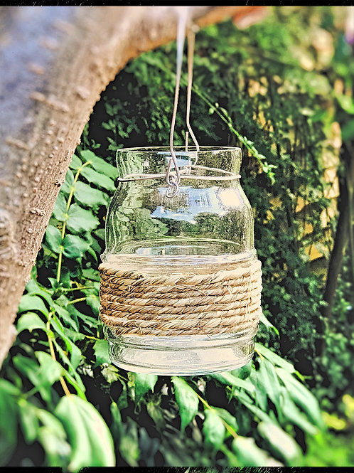 Clear glass Jar with Rope