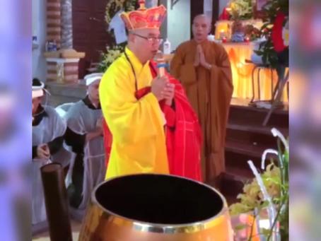 Chư Tăng chùa Thiên Quang thuộc GHPGVNTN làm lễ Di Quan