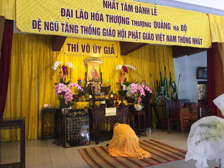 Hòa Thượng Thích Tuệ Sỹ về chùa Từ Hiếu thắp hương đảnh lễ Cố Đệ Ngũ Tăng Thống