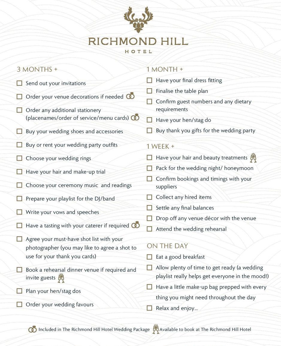 Richmond Hill Hotel's Ultimate Wedding Planning Check List...