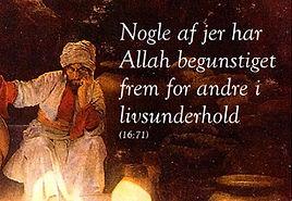 sura 16 vers 71 - ulighed i islam