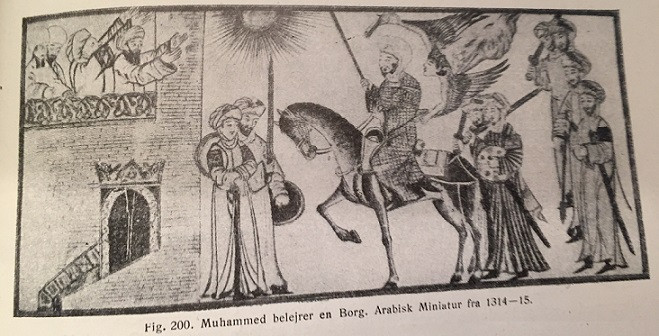 Muhammed belejrer en borg. Fra Gyldendals Illustrerede Verdenshistorie