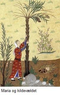 Jesus taler til Maria under palmetræet