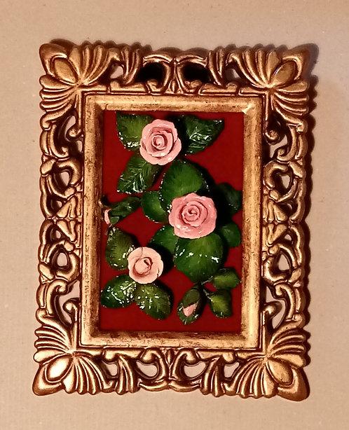 Cuadrito rosas de miga de pan
