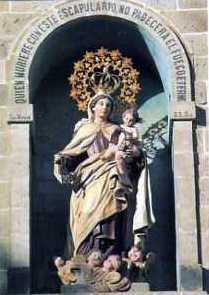 Estampa Virgen del Carmen Compostela fachada