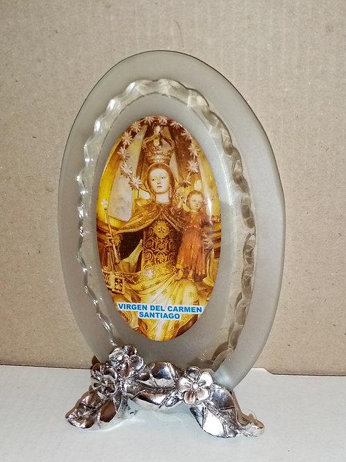 Base de cristal con Virgen del Carmen