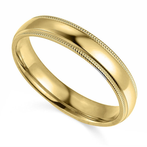 14k Yellow Gold 4-mm Comfort-fit Milgrain and polished Wedding Band