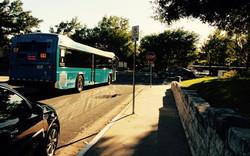 Public Transportation Bus Stop In Front