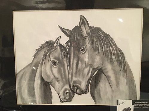 Horse drawing #115 11x14 framed pencil drawing