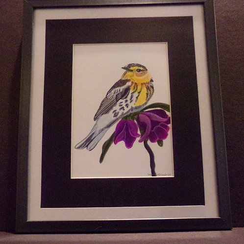 #198 Yellow bird 10x12 framed watercolor