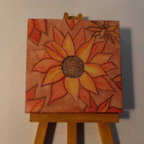 #162 orange flowers 3x3 inch with easel