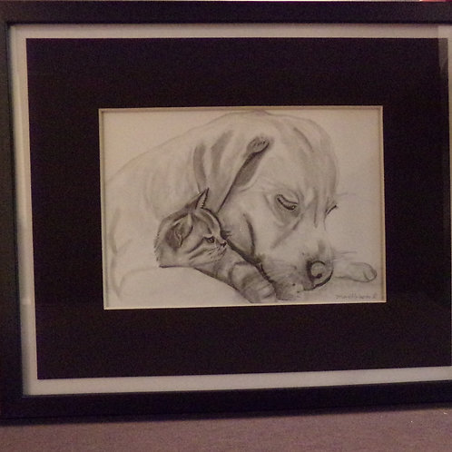 #202 Puppy and kitten  10x12 framed pencil drawing