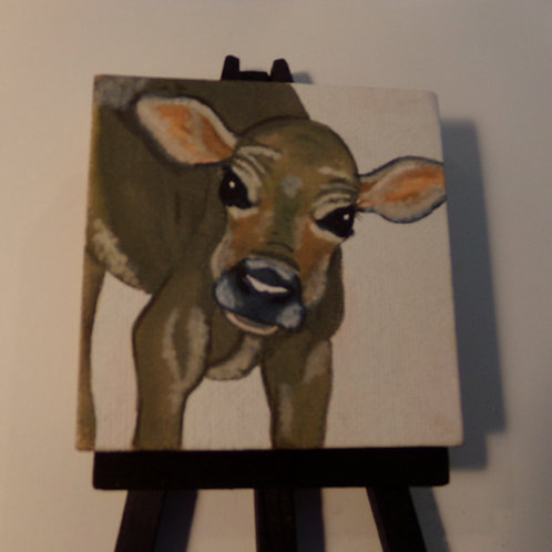 #171 calf 3x3 inch with easel