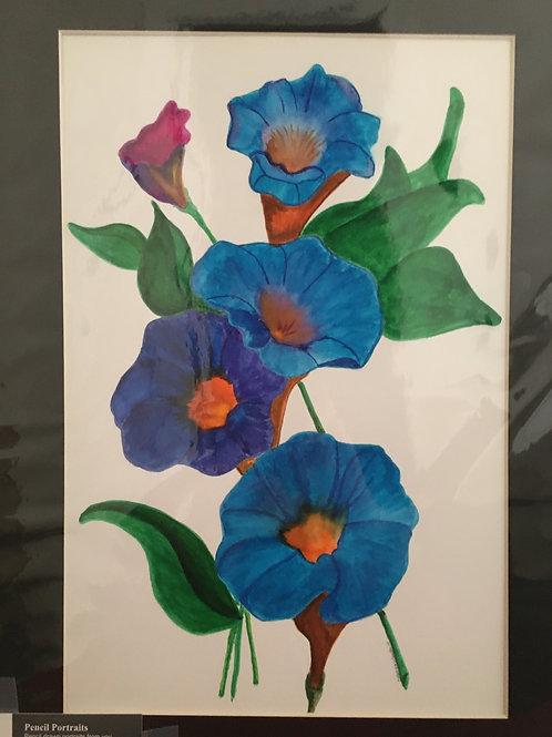 Panseys #39 12x16 framed watercolor