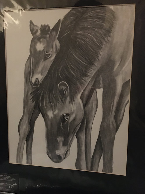Mother and baby #28 16x20 framed pencil drawing