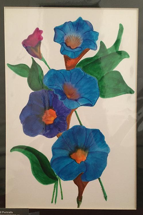 #39 Panseys  12x16 framed watercolor