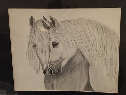 White horses #23 16x20 framed pencil drawing