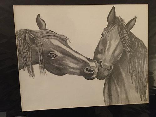 2 horses #31 16x20 framed pencil drawing