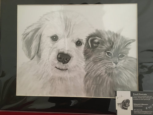 Puppy and kitten #112 11x14 framed pencil drawing