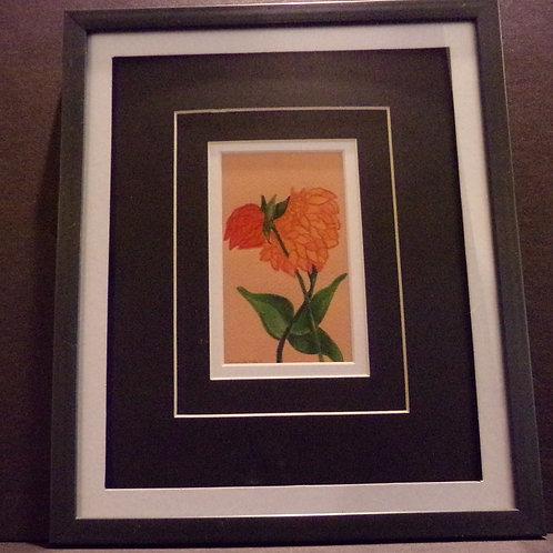 #126 Orange bud 10x12 framed watercolor