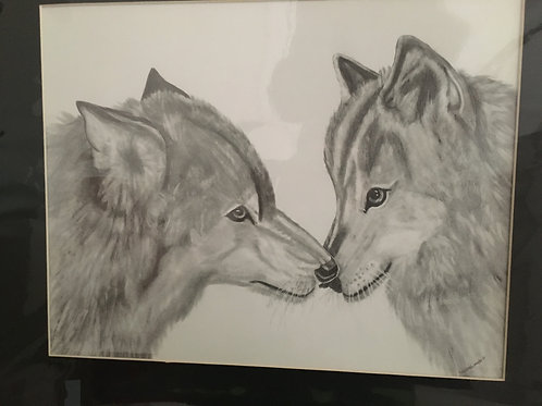 2 wolves #27 16x20 framed pencil drawing