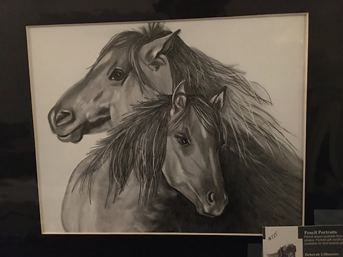 2 horse #105 11x14 framed pencil drawing