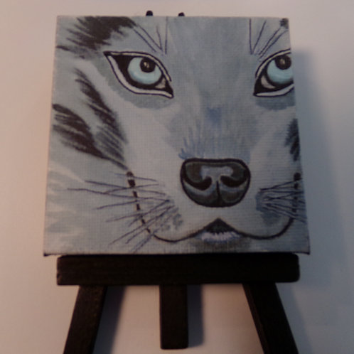 #213 blue eyed cat 3x3 inch with easel